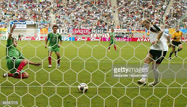 Bastian Schweinsteiger of Germany scores the 3rd goal during the match between Germany and Mexico for third place in the FIFA Confederations Cup 2005...