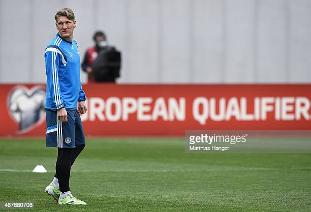 Bastian Schweinsteiger of Germany seen during a Germany training session ahead of their Euro 2016 Qualifier against Georgia at Boris Paichadze...