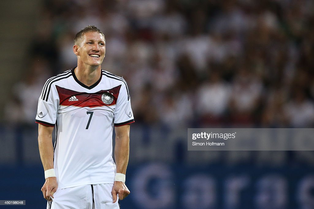 Bastian Schweinsteiger of Germany smiles during the International Friendly match between Germany and Armenia at Coface Arena on June 6, 2014 in Mainz, Germany.