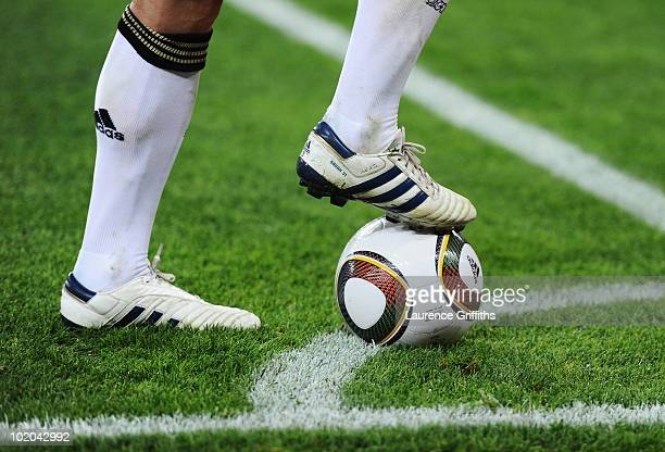 Bastian Schweinsteiger of Germany takes a corner during the 2010 FIFA World Cup South Africa Group D match between Germany and Australia at Durban...