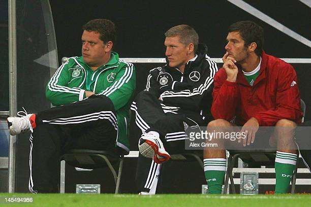 Bastian Schweinsteiger of Germany views the international friendly match between Germany and Israel at Zentralstadion on May 31, 2012 in Leipzig,...