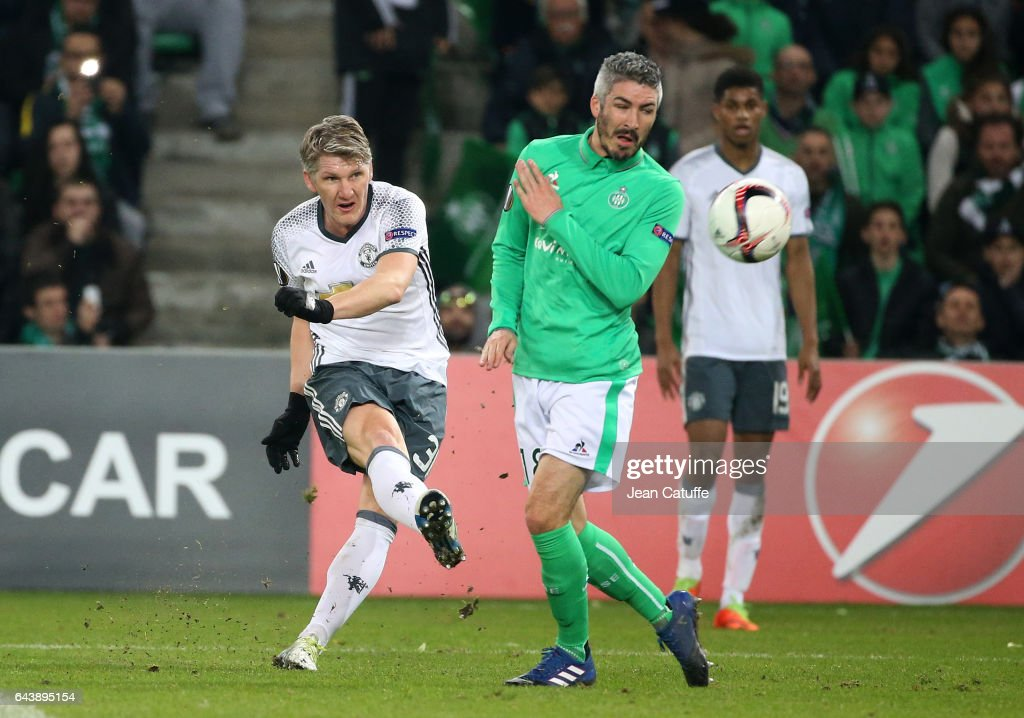 Bastian Schweinsteiger of Manchester United and Fabien Lemoine of Saint-Etienne in action during the UEFA Europa League Round of 32 second leg match between AS Saint-Etienne (ASSE) and Manchester United at Stade Geoffroy-Guichard on February 22, 2017 in Saint-Etienne, France.
