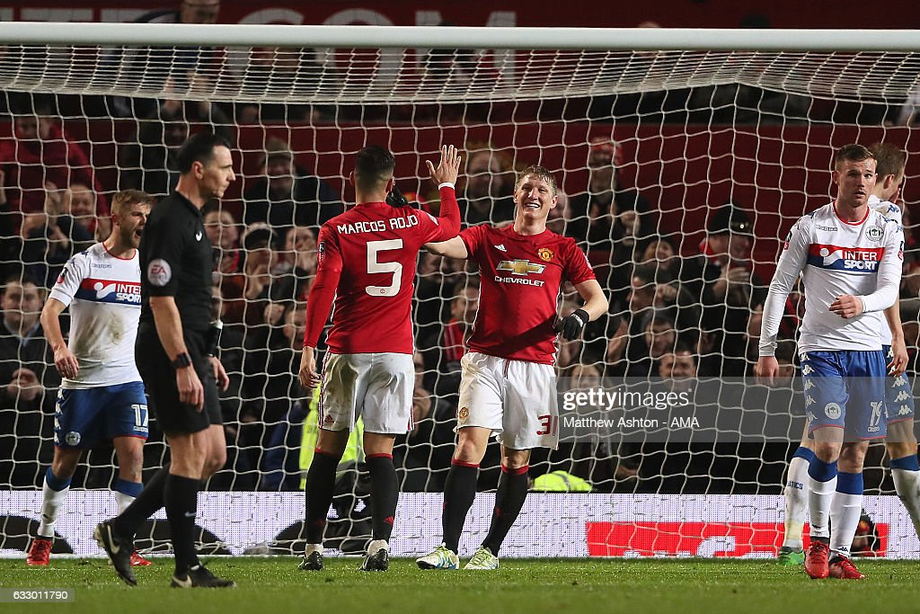 Bastian Schweinsteiger of Manchester United celebrates scoring his team's fourth goal to make the score 4-0 during the FA Cup fourth round match between Manchester United and Wigan Athletic at Old Trafford on January 29, 2017 in Manchester, England.