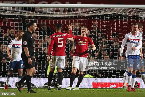 Bastian Schweinsteiger of Manchester United celebrates scoring his team's fourth goal to make the score 40 during the FA Cup fourth round match...