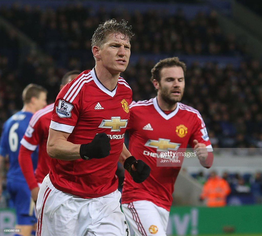 Bastian Schweinsteiger of Manchester United celebrates scoring their first goal during the Barclays Premier League match between Leicester City and Manchester United at The King Power Stadium on November 28, 2015 in Leicester, England.