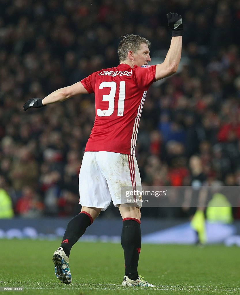 Bastian Schweinsteiger of Manchester United celebrates scoring their fourth goal during the Emirates FA Cup Fourth Round match between Manchester United and Wigan Athletic at Old Trafford on January 29, 2017 in Manchester, England.