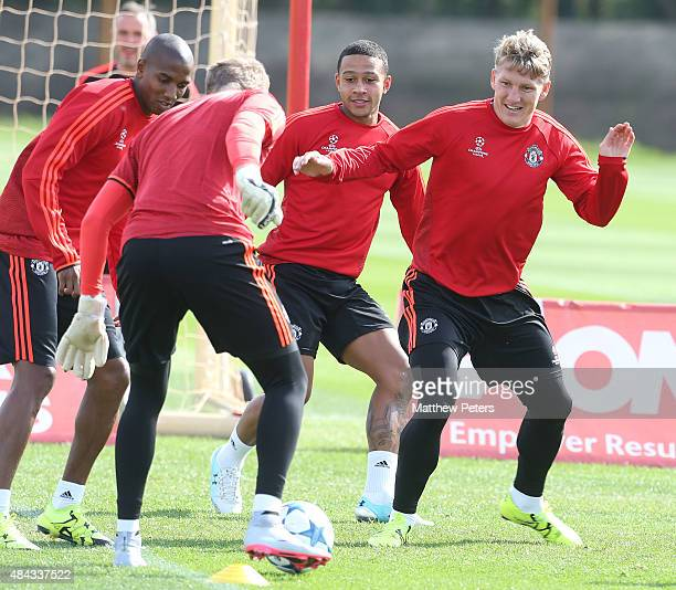 Bastian Schweinsteiger of Manchester United in action during a first team training session ahead of their UEFA Champions League playoff first leg...