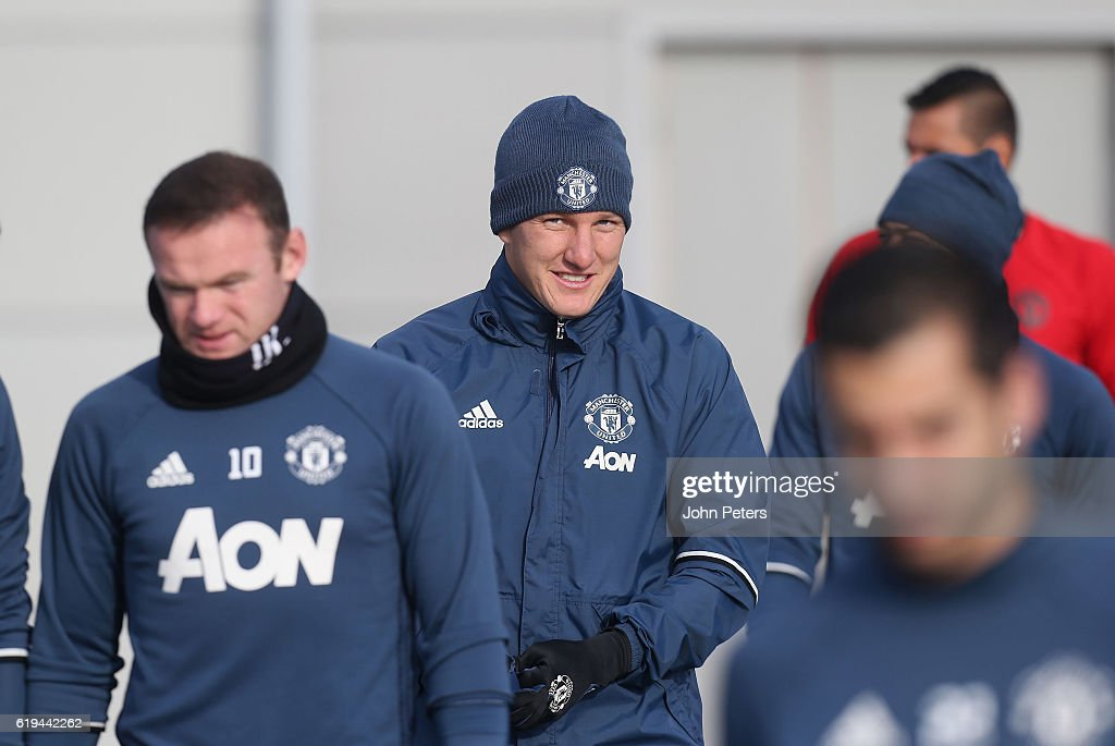 Bastian Schweinsteiger of Manchester United in action during a first team training session at Aon Training Complex on October 31, 2016 in Manchester, England.