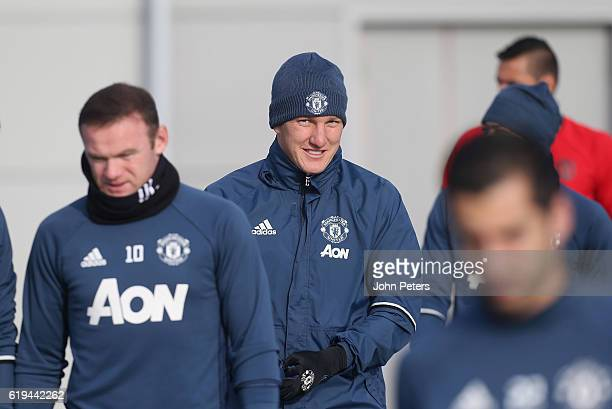 Bastian Schweinsteiger of Manchester United in action during a first team training session at Aon Training Complex on October 31 2016 in Manchester...