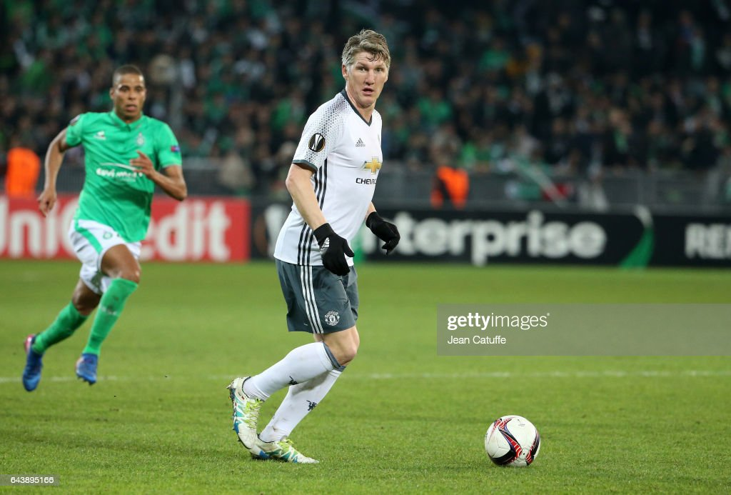 Bastian Schweinsteiger of Manchester United in action during the UEFA Europa League Round of 32 second leg match between AS Saint-Etienne (ASSE) and Manchester United at Stade Geoffroy-Guichard on February 22, 2017 in Saint-Etienne, France.
