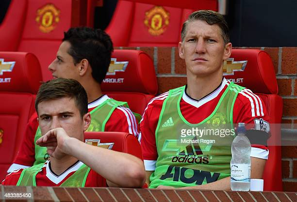 Bastian Schweinsteiger of Manchester United is seen on the bench prior to the Barclays Premier League match between Manchester United and Tottenham...