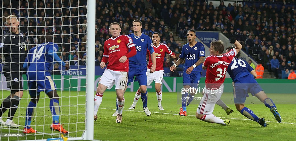 Bastian Schweinsteiger of Manchester United scores their first goal during the Barclays Premier League match between Leicester City and Manchester United at The King Power Stadium on November 28, 2015 in Leicester, England.