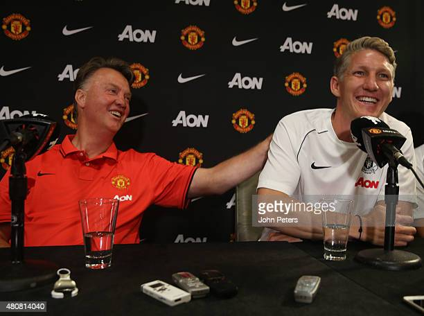 Bastian Schweinsteiger of Manchester United speaks during a press conference to unveil Bastian Schweinsteiger Morgan Schneiderlin and Matteo Darmian...