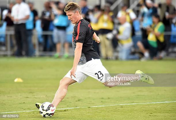 Bastian Schweinsteiger of Manchester United warms up before his team competes against the San Jose Earthquakes during their International Champions...