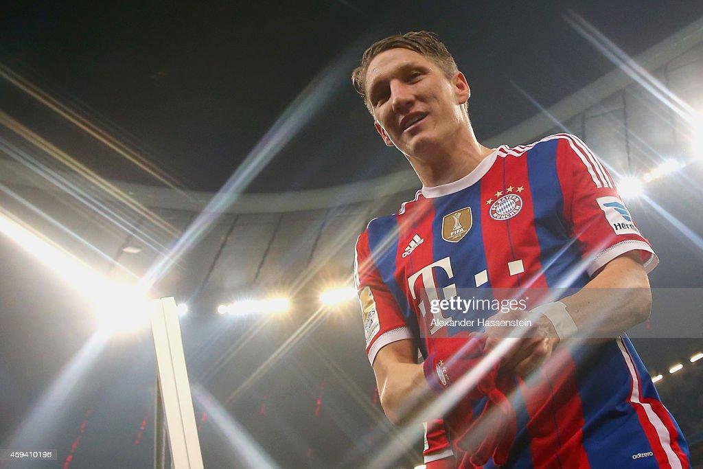 Bastian Schweinsteiger of Muenchen celebrates after the Bundesliga match between FC Bayern Muenchen and 1899 Hoffenheim at Allianz Arena on November 22, 2014 in Munich, Germany.
