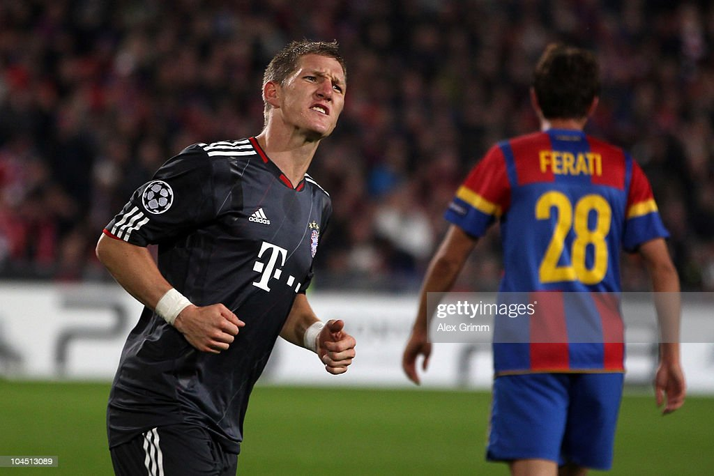 Bastian Schweinsteiger of Muenchen celebrates his team's first goal during the UEFA Champions League group E match between FC Basel and FC Bayern Muenchen at the St. Jakob Park stadium on September 28, 2010 in Basel, Switzerland.