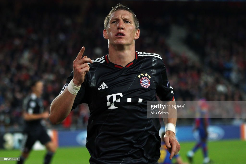 Bastian Schweinsteiger of Muenchen celebrates his team's second goal during the UEFA Champions League group E match between FC Basel and FC Bayern Muenchen at the St. Jakob Park stadium on September 28, 2010 in Basel, Switzerland.