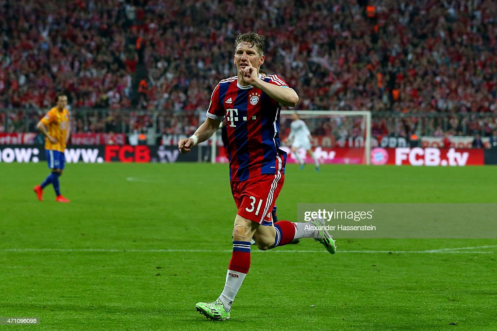 Bastian Schweinsteiger of Muenchen celebrates scoring the opening goal during the Bundesliga match between FC Bayern Muenchen and Hertha BSC Berlin at Allianz Arena on April 25, 2015 in Munich, Germany.