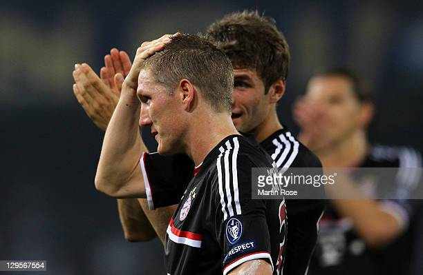 Bastian Schweinsteiger of Muenchen looks dejected after the UEFA Champions League group A match between SSC Napoli and FC Bayern Muenchen at Stadio...