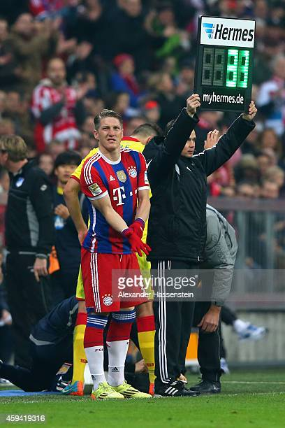 Bastian Schweinsteiger of Muenchen looks on prior his is substitution during the Bundesliga match between FC Bayern Muenchen and 1899 Hoffenheim at...