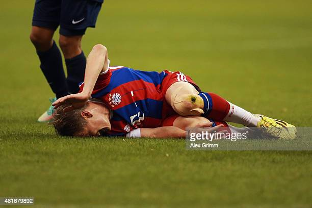 Bastian Schweinsteiger of Muenchen reacts after a foul during the friendly match between Al Hilal and Bayern Muenchen on January 17 2015 in Riyadh...