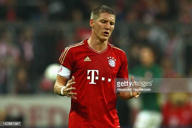 Bastian Schweinsteiger of Muenchen reacts during the Bundesliga match between FC Bayern Muenchen and FSV Mainz 05 at Allianz Arena on April 14, 2012...