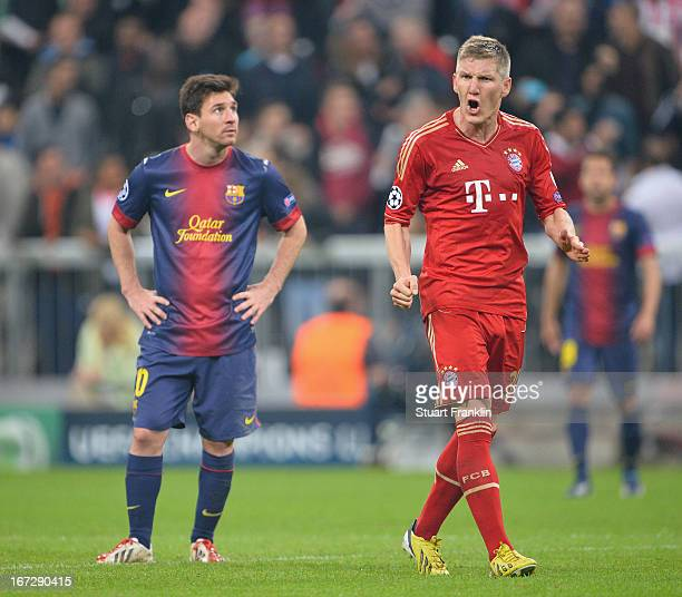 Bastian Schweinsteiger of Muenchen shouts as Lionel Messi of Barcelona looks dejected during the UEFA Champions League semi final first leg match...