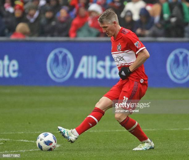 Bastian Schweinsteiger of the Chicago Fire advances the ball against the Los Angeles Galaxy at Toyota Park on April 14 2018 in Bridgeview Illinois...
