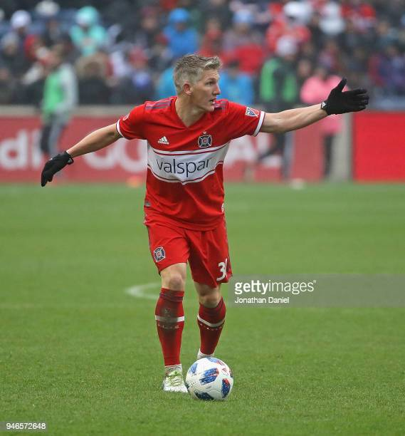 Bastian Schweinsteiger of the Chicago Fire directs teammates before passing against the Los Angeles Galaxy at Toyota Park on April 14 2018 in...
