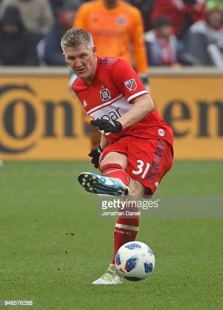 Bastian Schweinsteiger of the Chicago Fire passes against the Los Angeles Galaxy at Toyota Park on April 14 2018 in Bridgeview Illinois The Galaxy...