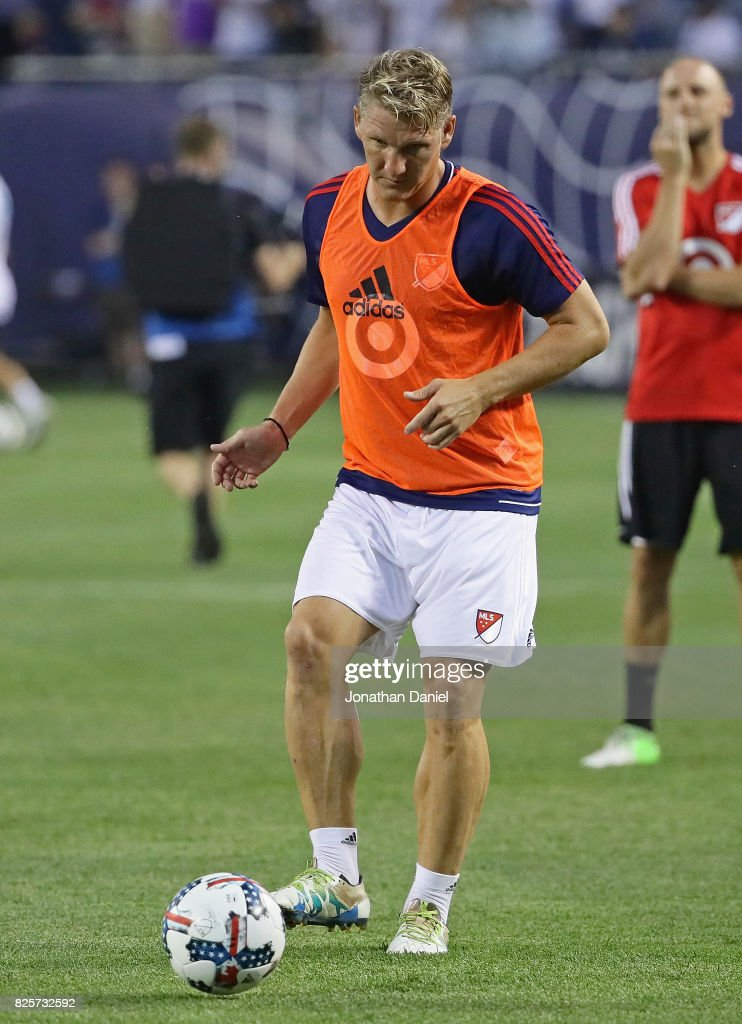 Bastian Schweinsteiger of the MLS All-Star participates in warm-ups before taking on Real Madrid in the 2017 MLS All- Star Game at Soldier Field on August 2, 2017 in Chicago, Illinois.