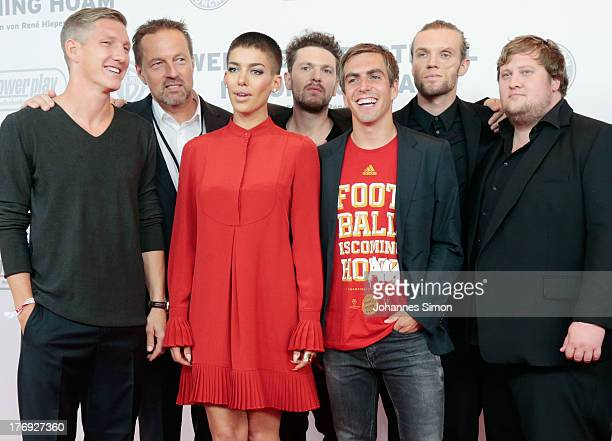 Bastian Schweinsteiger Rene Hiepen Alina Sueggeler Philipp Lahm and members of the band 'Frida Gold' arrive for the Wembley Football Is Coming Home...