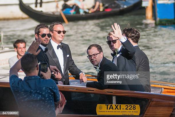 Bastian Schweinsteiger travels by water taxi with his friends from the Aman Grand Canal Hotel to the church for his wedding to Ana Ivanovic on July...