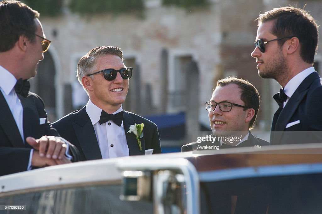 Bastian Schweinsteiger travels by water taxi with his friends from the Aman Grand Canal Hotel to the church for his wedding to Ana Ivanovic on July 13, 2016 in Venice, Italy.