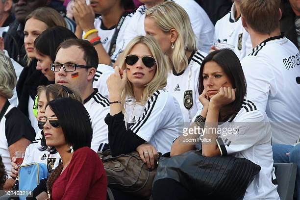 Bastian Schweinsteiger's girlfriend Sarah Brandner and Silvia Meichel girlfriend of Mario Gomez of Germany during the 2010 FIFA World Cup South...