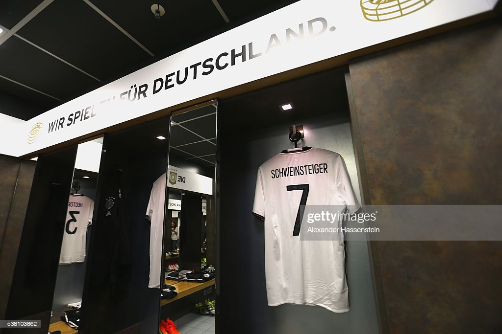 Bastian Schweinsteiger`s match jersey is seen at the dressing room of team Germany prior to the international friendly match between Germany and Hungary at Veltins-Arena on June 4, 2016 in Gelsenkirchen, Germany.