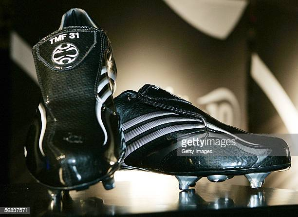 Bastian Schweinsteiger`s new shoes are displayed during the Major adidias F50 Tunit Launch Event on February 13 2006 in Munich Germany