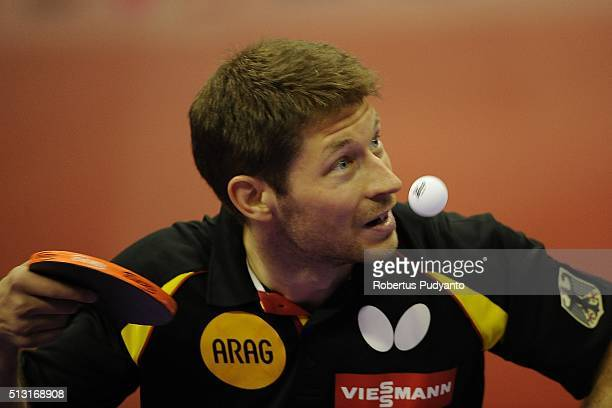 Bastian Steger of Germany competes against Paul Drinkhall of England during the 2016 World Table Tennis Championship Men's Team Division Round 4...