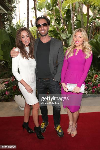 Bastian Yotta ' Mr Yotta' and his new girlfriend Melanie and Hofit Golan at the Beverly Hills Hotel on February 25 2017 in Los Angeles California