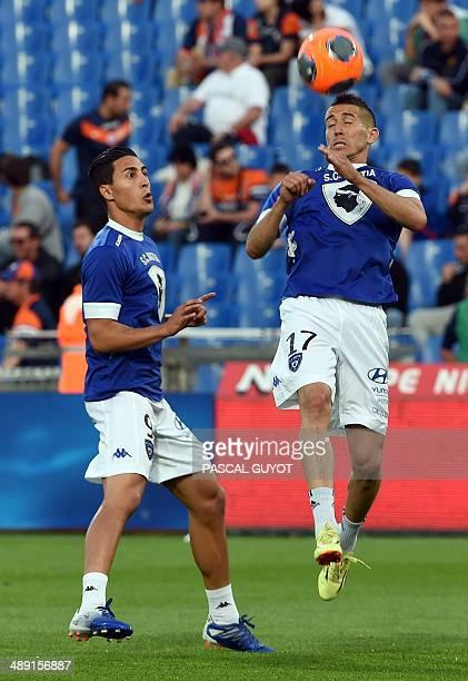 Bastia's Belgian forward Gianni Bruno and Bastia's French midfielder Florian Raspentino train before the French L1 football match Montpellier vs...
