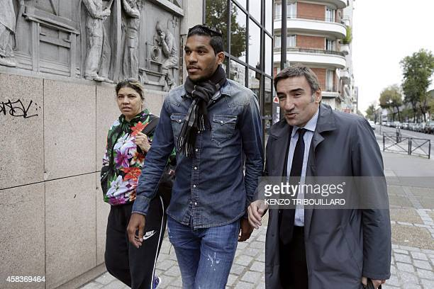 Bastia's Brazilian forward Brandao arrives with his mother and his lawyer Olivier Martin at the French Football Federation in Paris for an appeal...