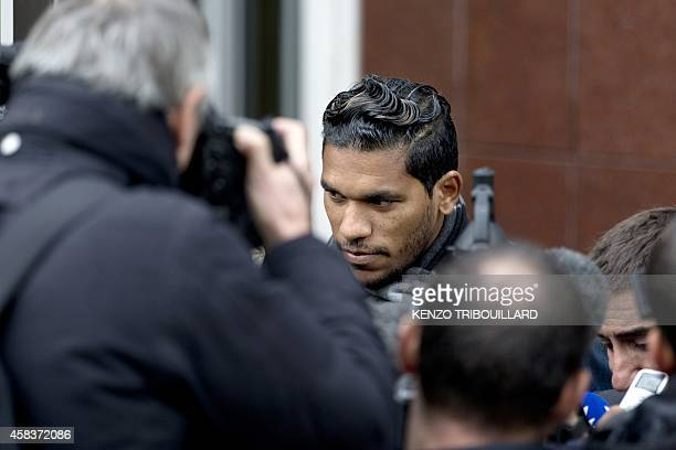 Bastia's Brazilian forward Brandao leaves the French Football Federation in Paris after an appeal hearing on November 4 2014 Brandao's trial for...