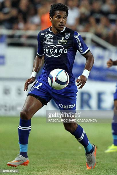 Bastia's Brazilian forward Brandao runs with the ball during the French L1 football match Bastia against Rennes on August 8 2015 in the Armand Cesari...
