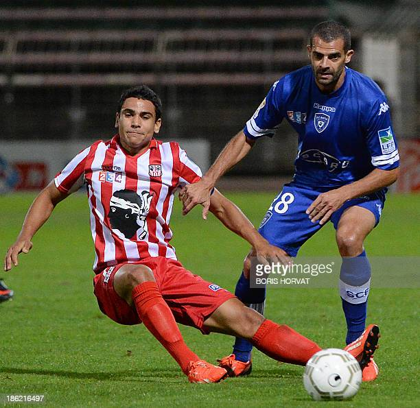 Bastia's Brazilian forward Ilan Araujo vies with Ajaccio's French midfielder Benjamin Andre during the French League cup football match Bastia vs...