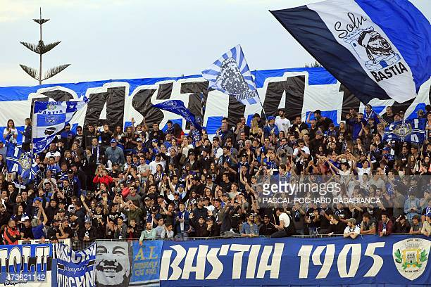 Bastia's cheer their team prior to the French L1 football match between Bastia and Caen on May 16 2015 at the Armand Cesari stadium in Bastia French...