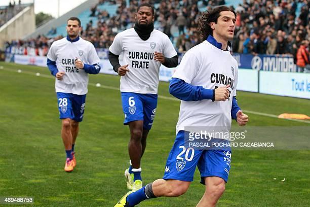 Bastia's French defender Francois Joseph Modesto Bastia's Ivory Coast midfielder Romaric N Dri Koffi and Bastia's Brazilain forward Ilan Araujo train...
