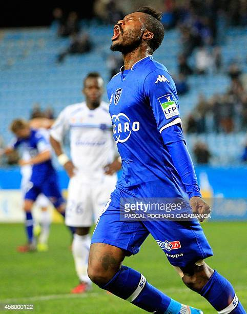 Bastia's French forward Djibril Cisse celebrates after scoring a goal during a French League Cup football match between Bastia and Auxerre on October...