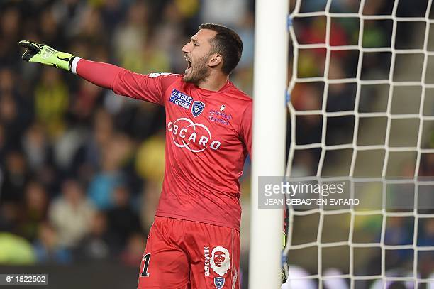 Bastia's French goalkeeper Thomas Vincensini gestures during the French L1 football match between FC Nantes and SC Bastia at the Beaujoire Stadium in...