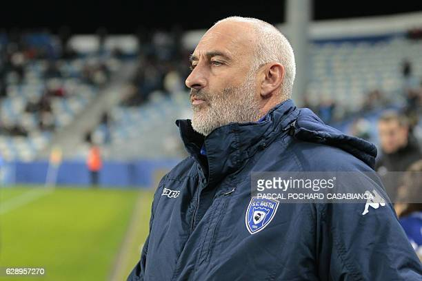 Bastia's French head coach Francois Ciccolini is pictured before the French L1 football match between Bastia and Metz on December 10 2016 at the...