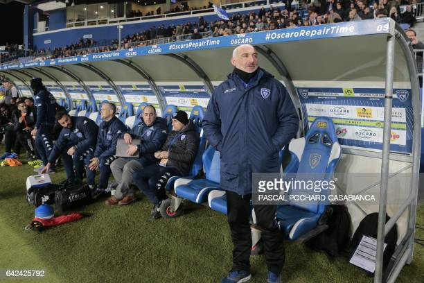 Bastia's French head coach Francois Ciccolini stands before the L1 football match Bastia against Monaco on February 17 2017 in the Armand Cesari...